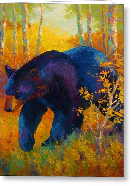 Spirit Paintings Greeting Cards - In To Spring - Black Bear Greeting Card by Marion Rose