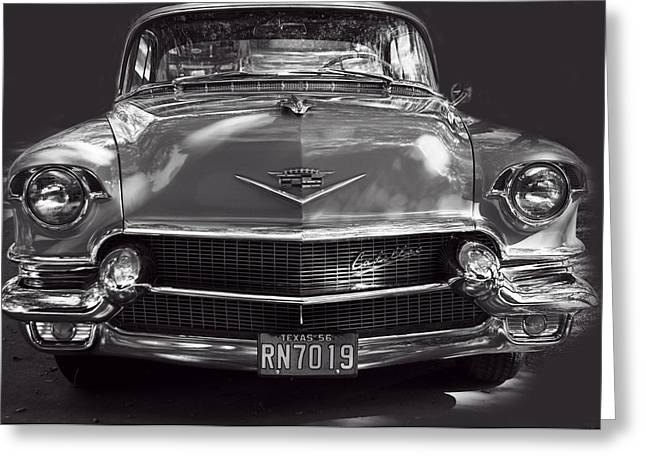 Conditions Greeting Cards - In Your Face - 1956 Cadillac BW Greeting Card by Linda Phelps