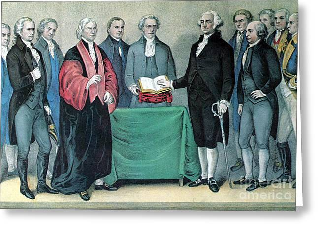 Oath Of Office Greeting Cards - Inauguration Of George Washington, 1789 Greeting Card by Photo Researchers