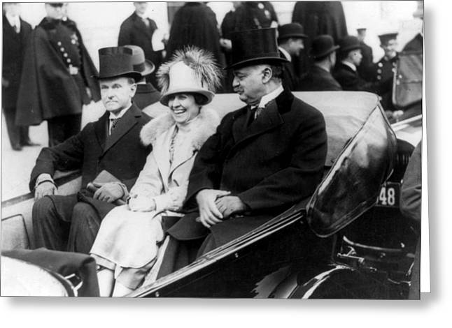 American Politician Greeting Cards - Inauguration of President Calvin Coolidge - c 1925 Greeting Card by International  Images