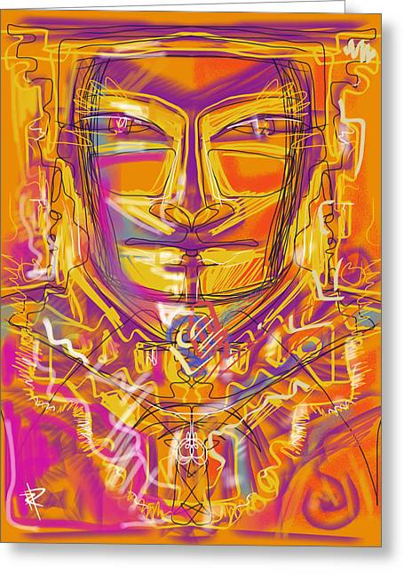 Gold Necklace Mixed Media Greeting Cards - Inca King Greeting Card by Russell Pierce