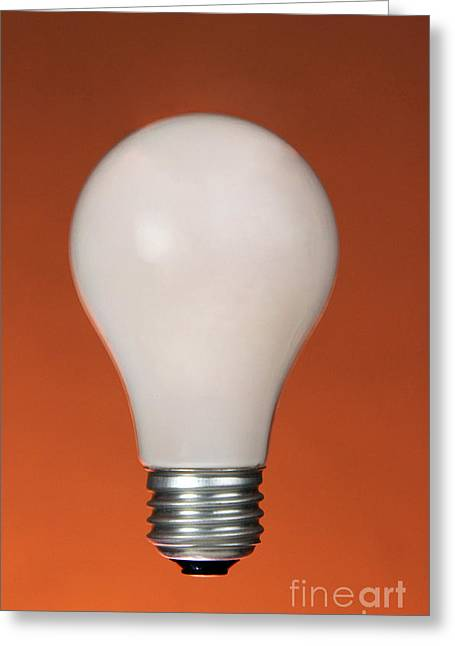 Frosted Glass Greeting Cards - Incandescent Light Bulb Greeting Card by Photo Researchers, Inc.