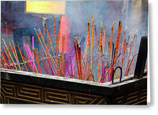 Incense Sticks Greeting Cards - Incense Sticks Burning Greeting Card by George Oze