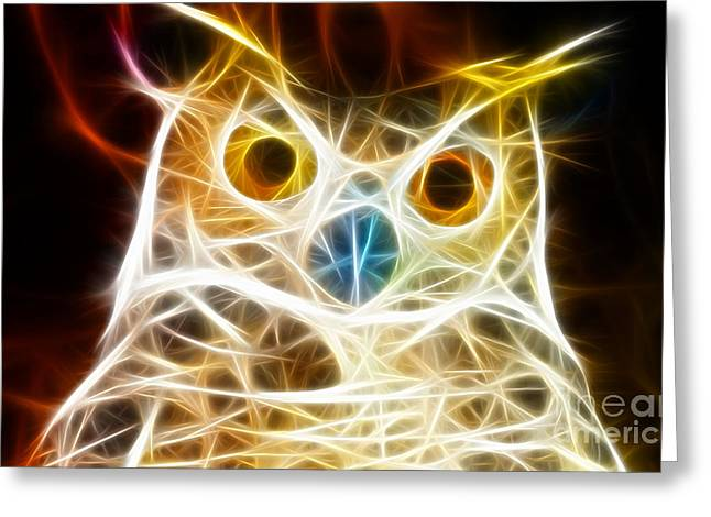 Unique Owl Greeting Cards - Incredible Owl Portrait Greeting Card by Pamela Johnson