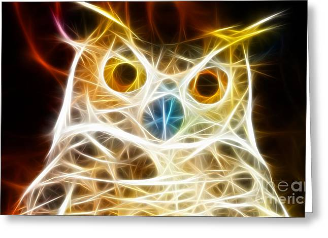 Colorful Owl Greeting Cards - Incredible Owl Portrait Greeting Card by Pamela Johnson