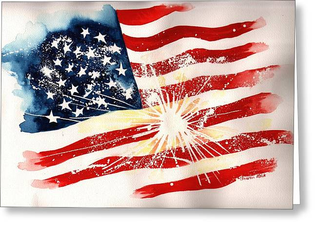 Water Color Greeting Cards - Independence Day Greeting Card by Sharon Mick