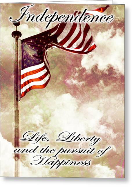 4 Stones Greeting Cards - Independence Day USA Greeting Card by Phill Petrovic