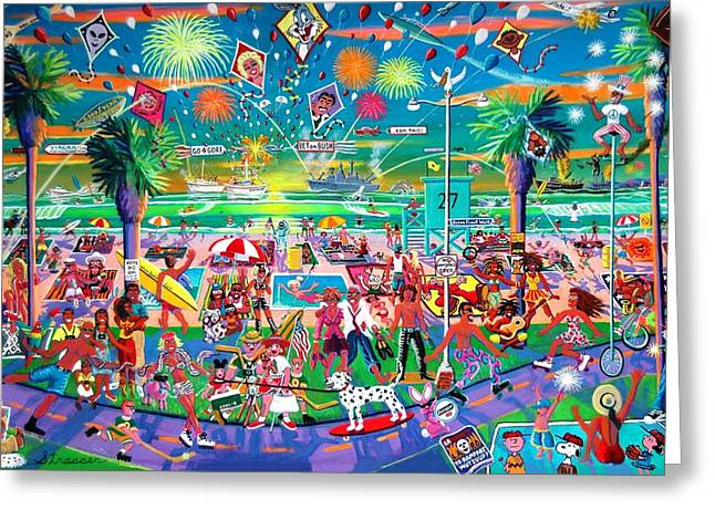 Sesame Street Greeting Cards - Independence Day Venice Style Greeting Card by Frank Strasser