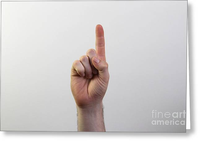 Asl Greeting Cards - Index Finger Greeting Card by Photo Researchers, Inc.