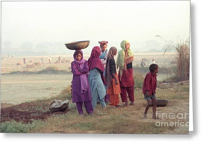 Men Pyrography Greeting Cards - India girls Greeting Card by Igor Fedonyuk