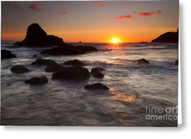 Tillamook Lighthouse Greeting Cards - Indian Beach Sundown Greeting Card by Mike  Dawson