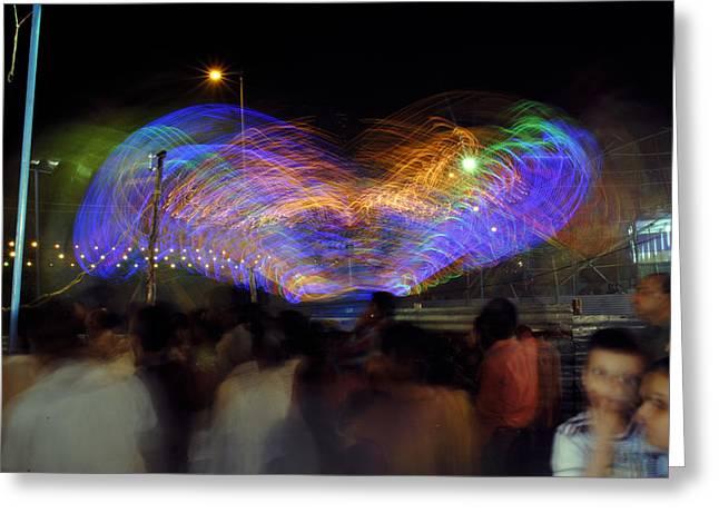 Indian Greeting Cards - Indian Carnival Colorful swing Greeting Card by Sumit Mehndiratta