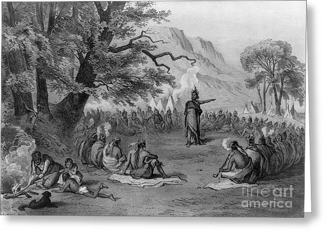 Cristoforo Greeting Cards - Indian Chief Informing Tribe Greeting Card by Photo Researchers