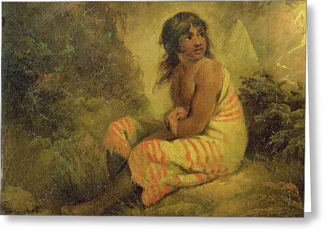 Oil Portrait Photographs Greeting Cards - Indian Girl Greeting Card by George Morland