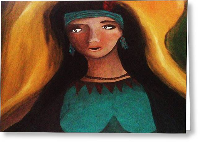Orange And Brown Wings Paintings Greeting Cards - Indian Girlfriend Greeting Card by Vickie Meza