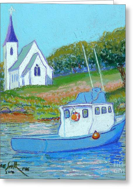 Ocean Sailing Pastels Greeting Cards - Indian Harbour fishing boat Greeting Card by Rae  Smith PSC