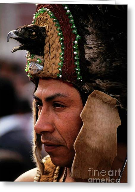 Mexico City Greeting Cards - Indian man wearing a traditional headdress Greeting Card by Sami Sarkis