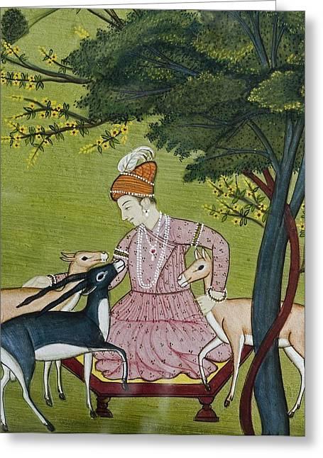 Jainism Greeting Cards - Indian Miniature, Animal Kindness Ahimsa Greeting Card by Paul D Stewart