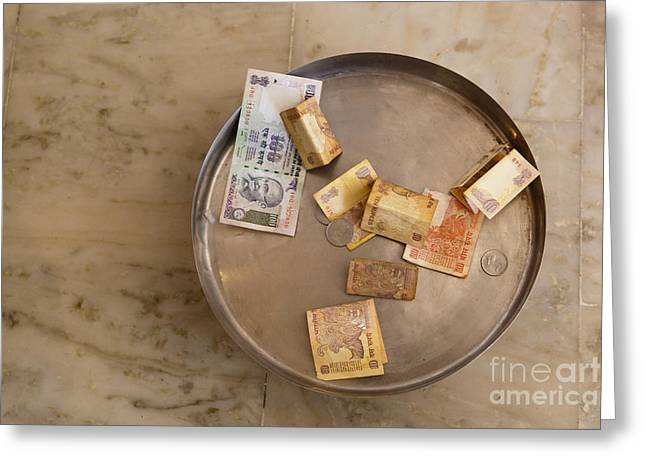 Paper Money Greeting Cards - Indian Money in a Dish Greeting Card by Inti St. Clair
