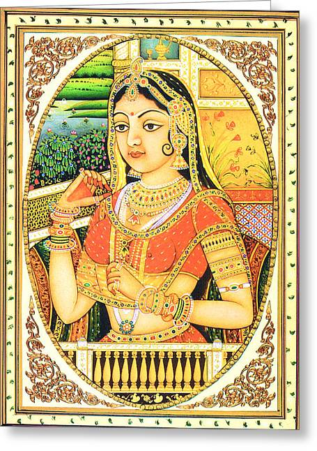 Ethnic Greeting Cards - Indian Queen Greeting Card by Sumit Mehndiratta