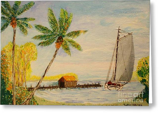 Bill Hubbard Greeting Cards - Indian River Mail Sloop 1908 Greeting Card by Bill Hubbard