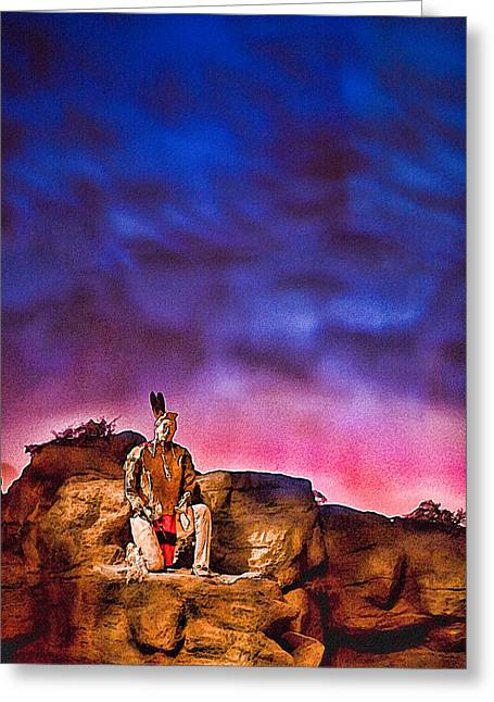 Indian Warrior Sculpture Greeting Cards - Indian Sculpture 1 Greeting Card by Wendy White