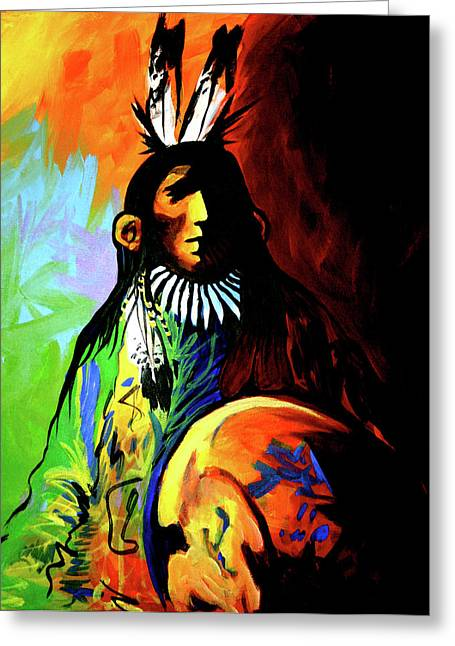 New West Greeting Cards - Indian Shadows Greeting Card by Lance Headlee