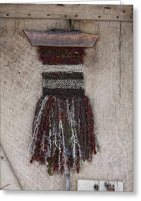 Weave Tapestries - Textiles Greeting Cards - Indian Stone - Hand Woven Fiber Art Greeting Card by Karen Rester