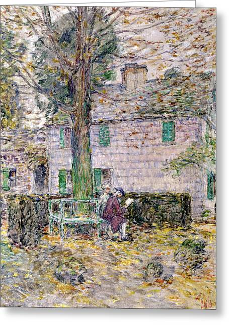 Clapboard House Greeting Cards - Indian Summer in Colonial Days Greeting Card by Childe Hassam