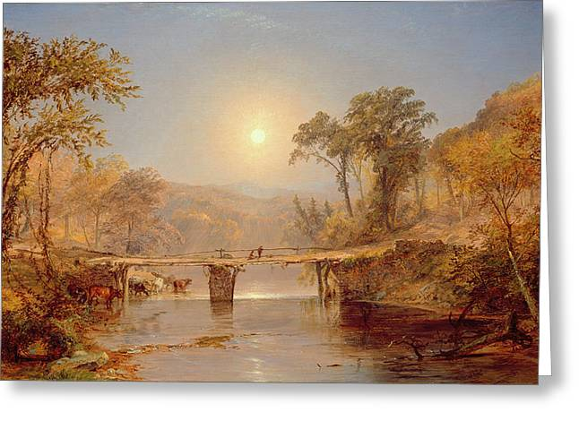 Summer On The Farm Greeting Cards - Indian Summer on the Delaware River Greeting Card by Jasper Francis Cropsey