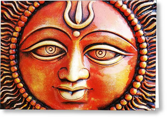 Ethnic Greeting Cards - Indian Sun Greeting Card by Sumit Mehndiratta