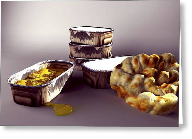 Ethnic Food Greeting Cards - Indian Take-away Food, Artwork Greeting Card by Christian Darkin