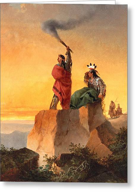 Tribe Greeting Cards - Indian Telegraph Greeting Card by John Mix Stanley
