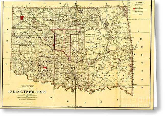Reproduction Greeting Cards - Indian Territory Greeting Card by Pg Reproductions