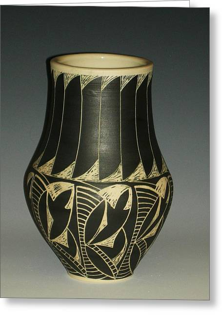 Incised Greeting Cards - Indian vase Greeting Card by Ken McCollum