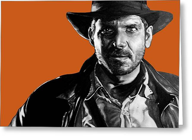 Leon Jimenez Greeting Cards - Indiana Jones Art Signed Prints available at laartwork.com Coupon Code KODAK Greeting Card by Leon Jimenez