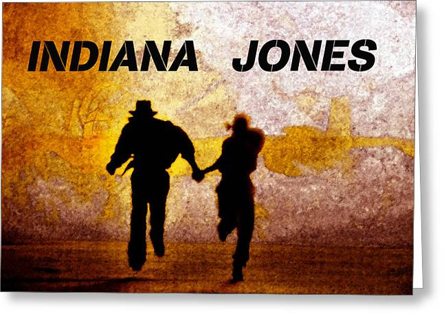 Indiana Scenes Greeting Cards - Indiana Jones poster work A Greeting Card by David Lee Thompson