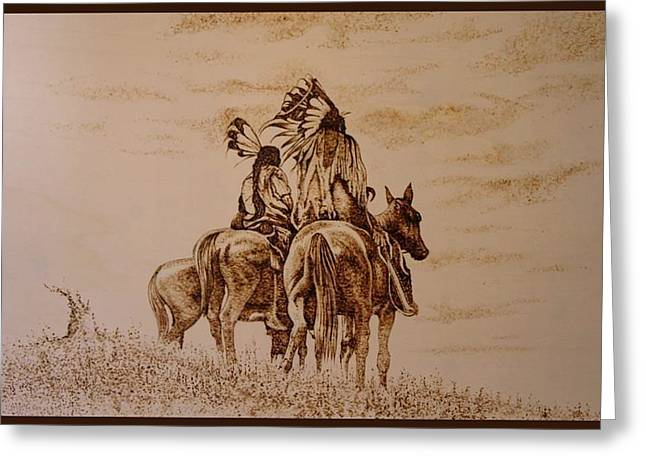 Horses Pyrography Greeting Cards - Indiana Greeting Card by Raz Mohammad Amir