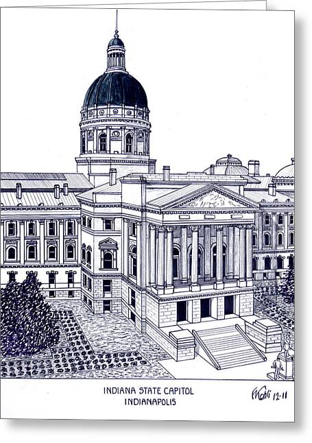 Indiana Images Mixed Media Greeting Cards - Indiana State Capitol Greeting Card by Frederic Kohli