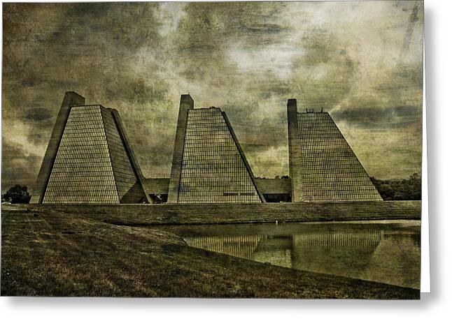 Pyramids Mixed Media Greeting Cards - Indianapolis Pyramids Textured Greeting Card by David Haskett