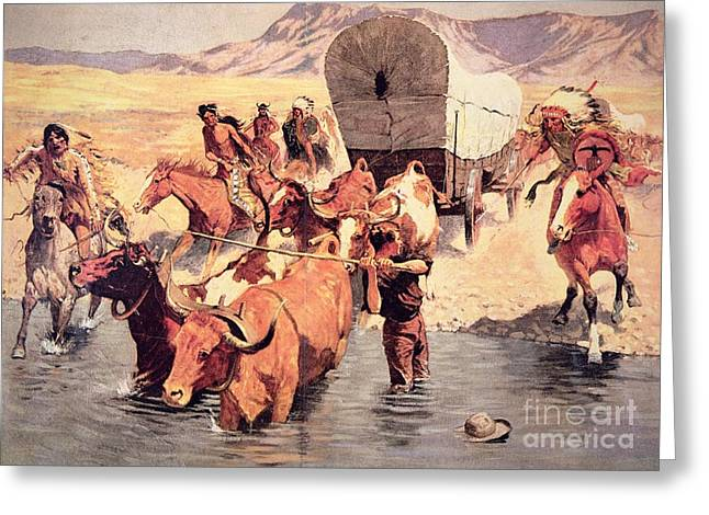 Cowboys And Indians Greeting Cards - Indians attacking a pioneer wagon train Greeting Card by Frederic Remington