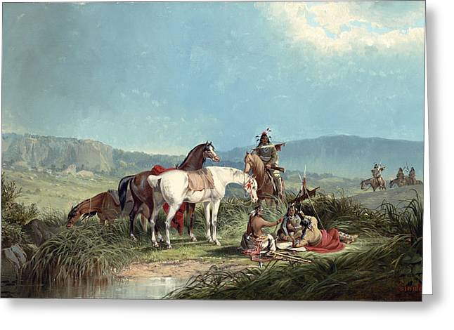 Feeding Greeting Cards - Indians Playing Cards Greeting Card by John Mix Stanley
