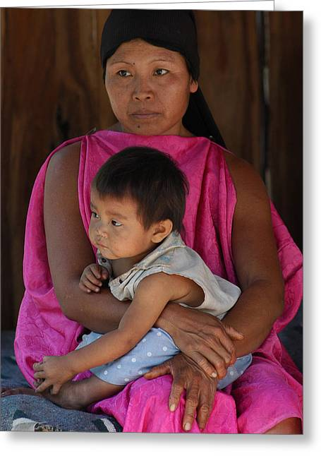 Indigenous Greeting Cards - Indigenous Guarani with your child. Department of Santa Cruz. Republic of Bolivia. Greeting Card by Eric Bauer