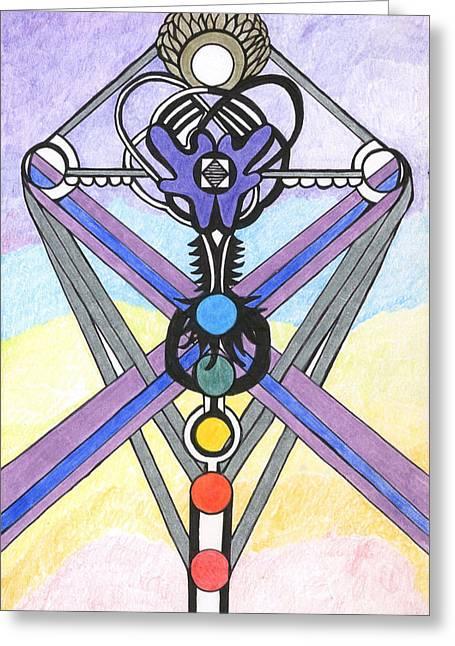 Aura Drawings Greeting Cards - Indigo Aura   Greeting Card by Lynda  Richardson