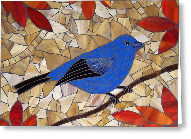 Branch Glass Greeting Cards - Indigo Bunting Greeting Card by Barbara Benson Keith