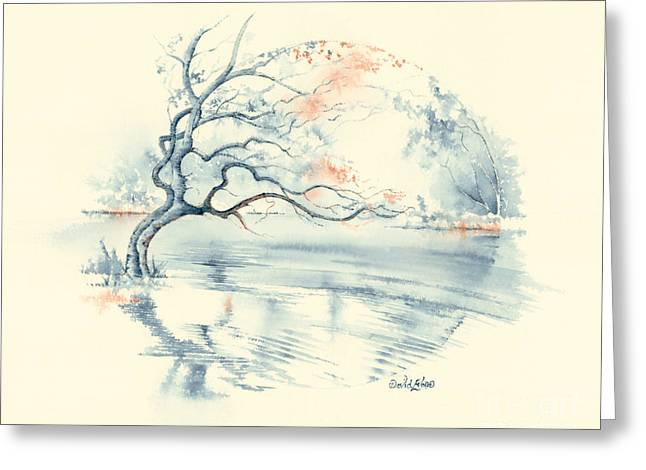 Coloured Pencil Greeting Cards - Indigo Reflections Greeting Card by David Evans