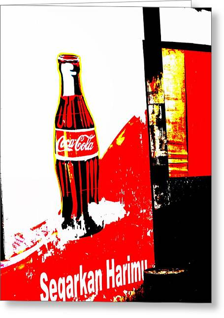 Abstract Digital Photographs Greeting Cards - Indonesian Coke Ad Greeting Card by Funkpix Photo Hunter