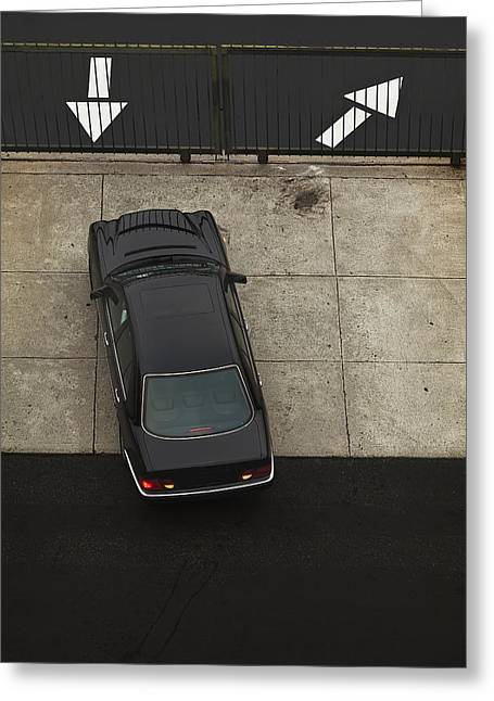 Exit Sign Greeting Cards - Indoors Parking Lot Resurfaced Black Greeting Card by Dan Kaufman