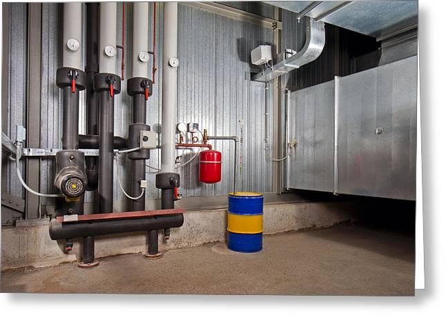 Basement Greeting Cards - Industrial Boiler Room And Hvac System Greeting Card by Corepics