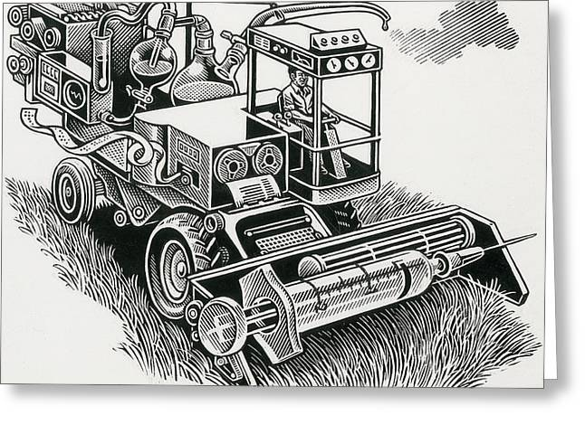 Processor Greeting Cards - Industrial Farming Greeting Card by Bill Sanderson